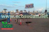 إيكوسودان : انفجار انبوب صرف صحي بشارع المطار بالخرطوم